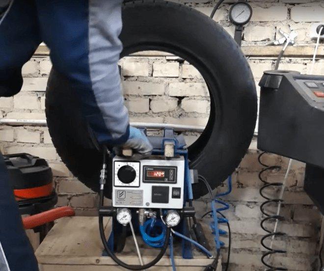горячая вулканизация шины в процессе